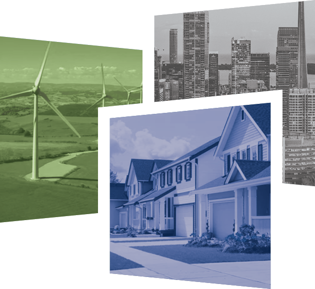 A collage of three images featuring wind turbines, a row of houses, and a cityscape