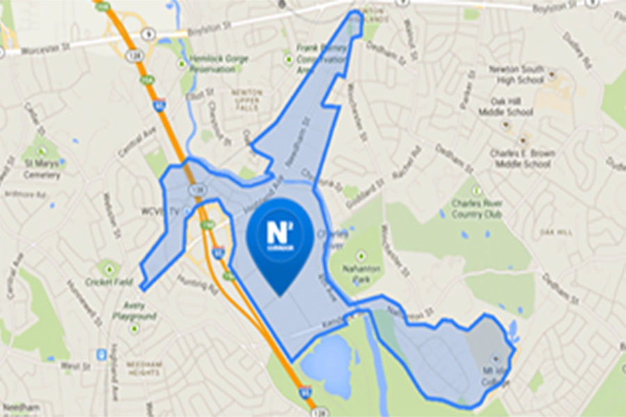 Map showing N-Squared innovation corridor in Newton and Needham MA